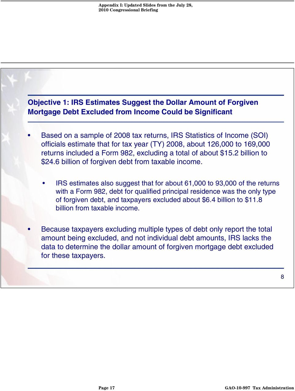 IRS estimates also suggest that for about 61,000 to 93,000 of the returns with a Form 982, debt for qualified principal residence was the only type of forgiven debt, and taxpayers excluded about $6.