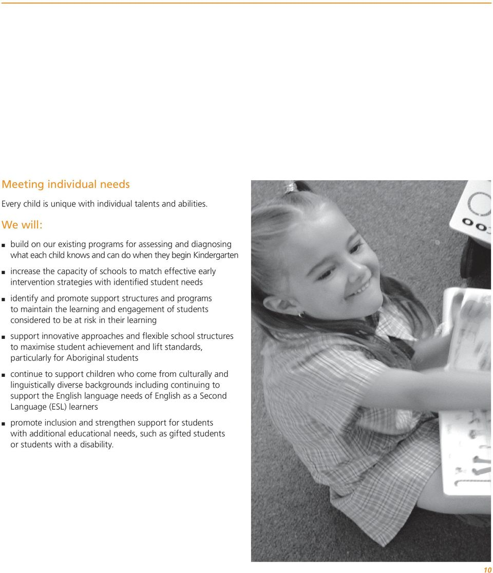 intervention strategies with identified student needs identify and promote support structures and programs to maintain the learning and engagement of students considered to be at risk in their