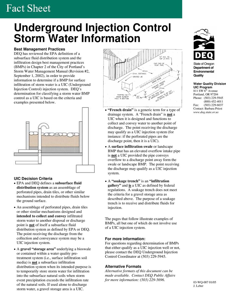 infiltration of storm water is a UIC (Underground Injection Control) injection system.
