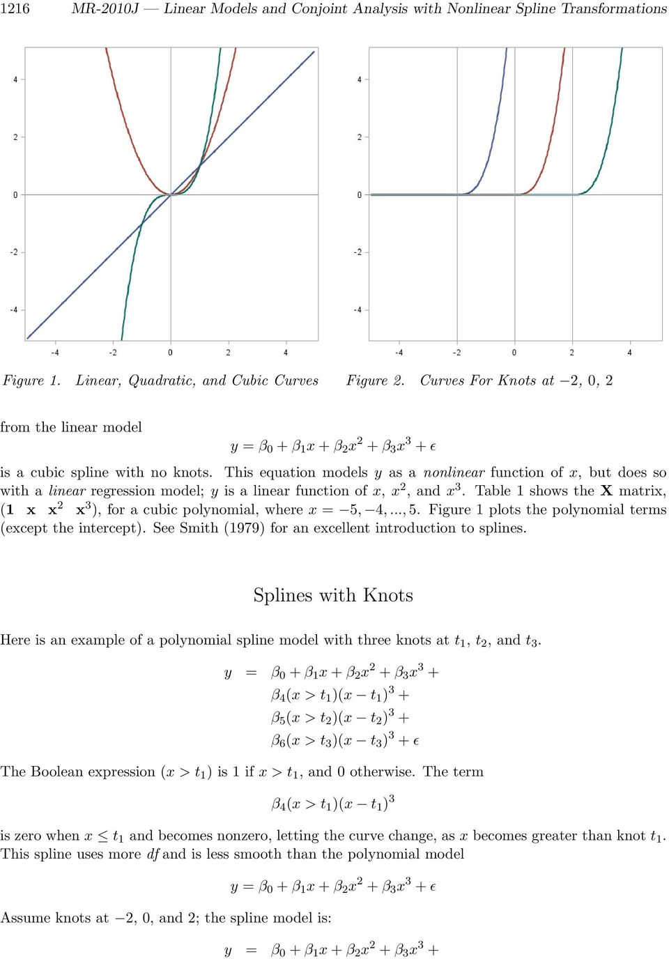 Linear Models and Conjoint Analysis with Nonlinear Spline