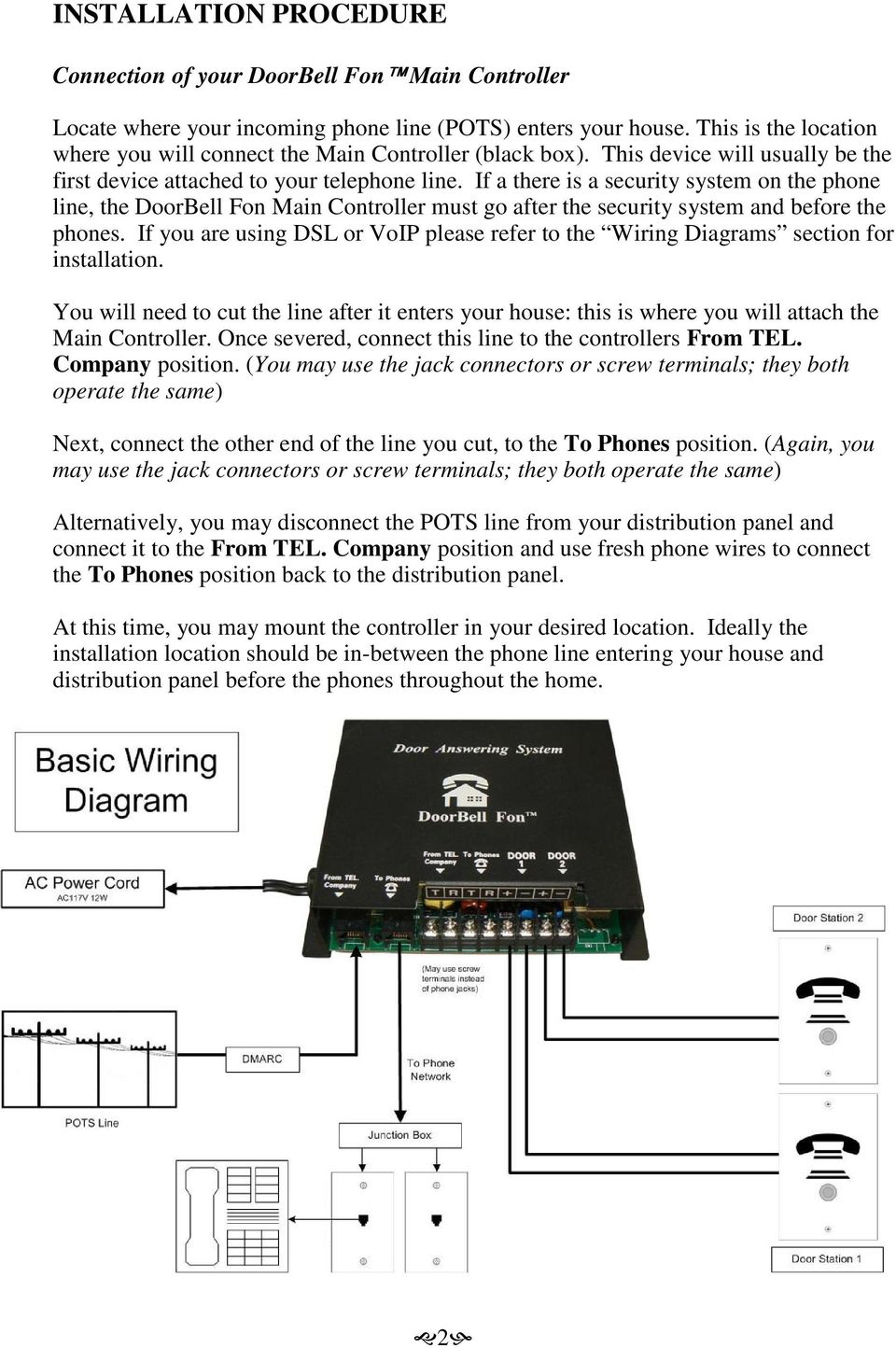 Doorbell Fon User And Installation Manual Pdf Phone Line Wire Diagram If A There Is Security System On The Main