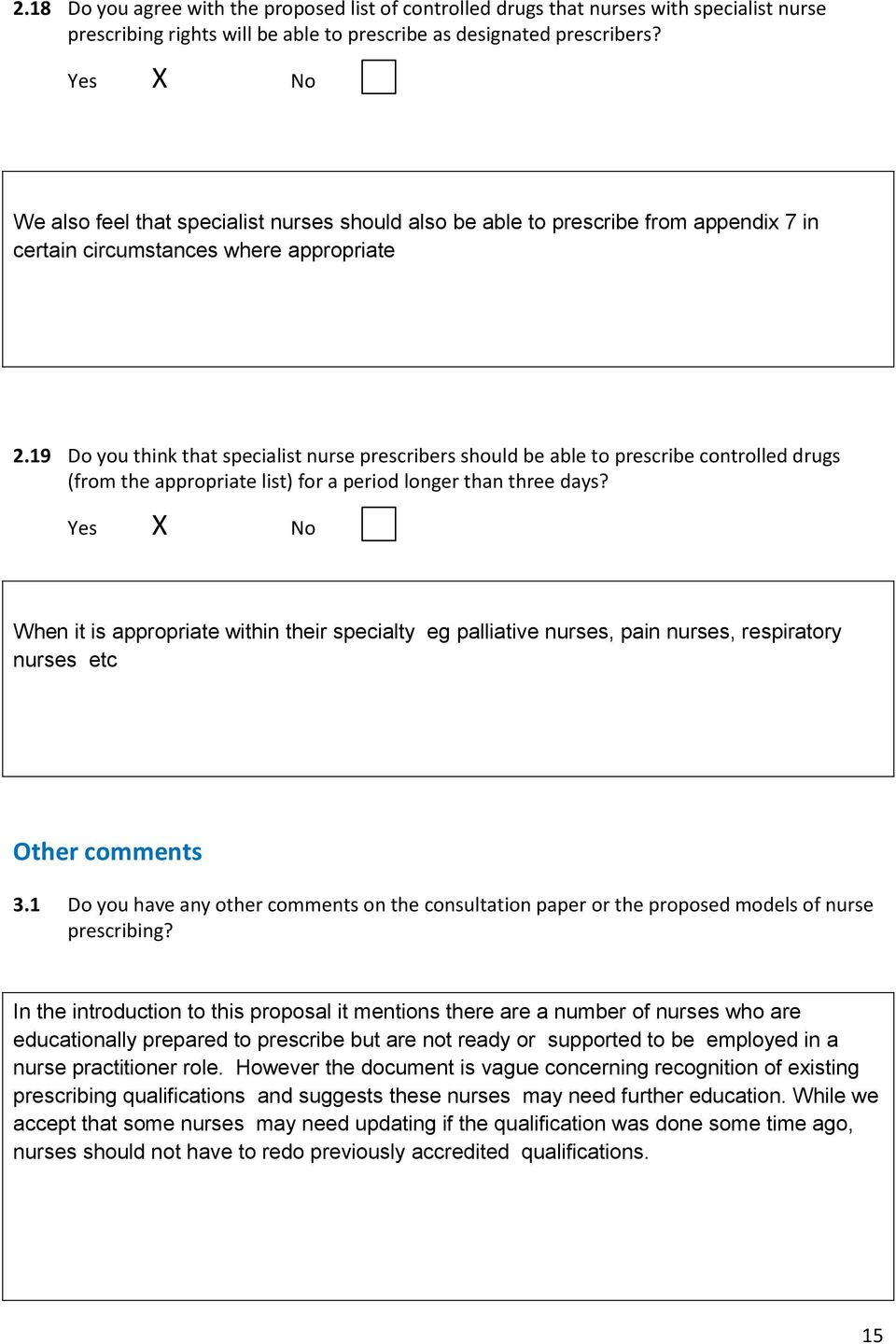 19 Do you think that specialist nurse prescribers should be able to prescribe controlled drugs (from the appropriate list) for a period longer than three days?