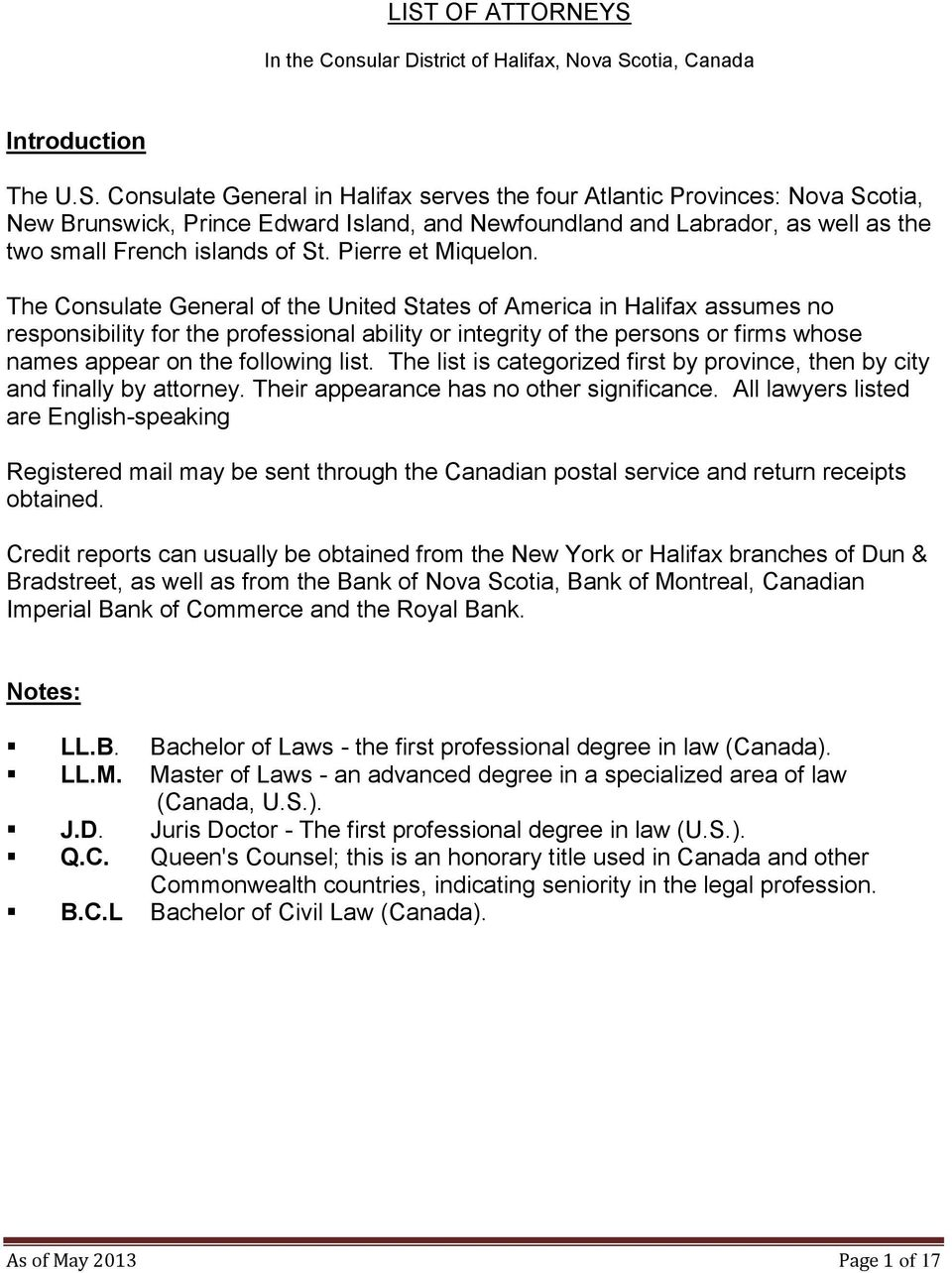 LIST OF ATTORNEYS  In the Consular District of Halifax, Nova Scotia