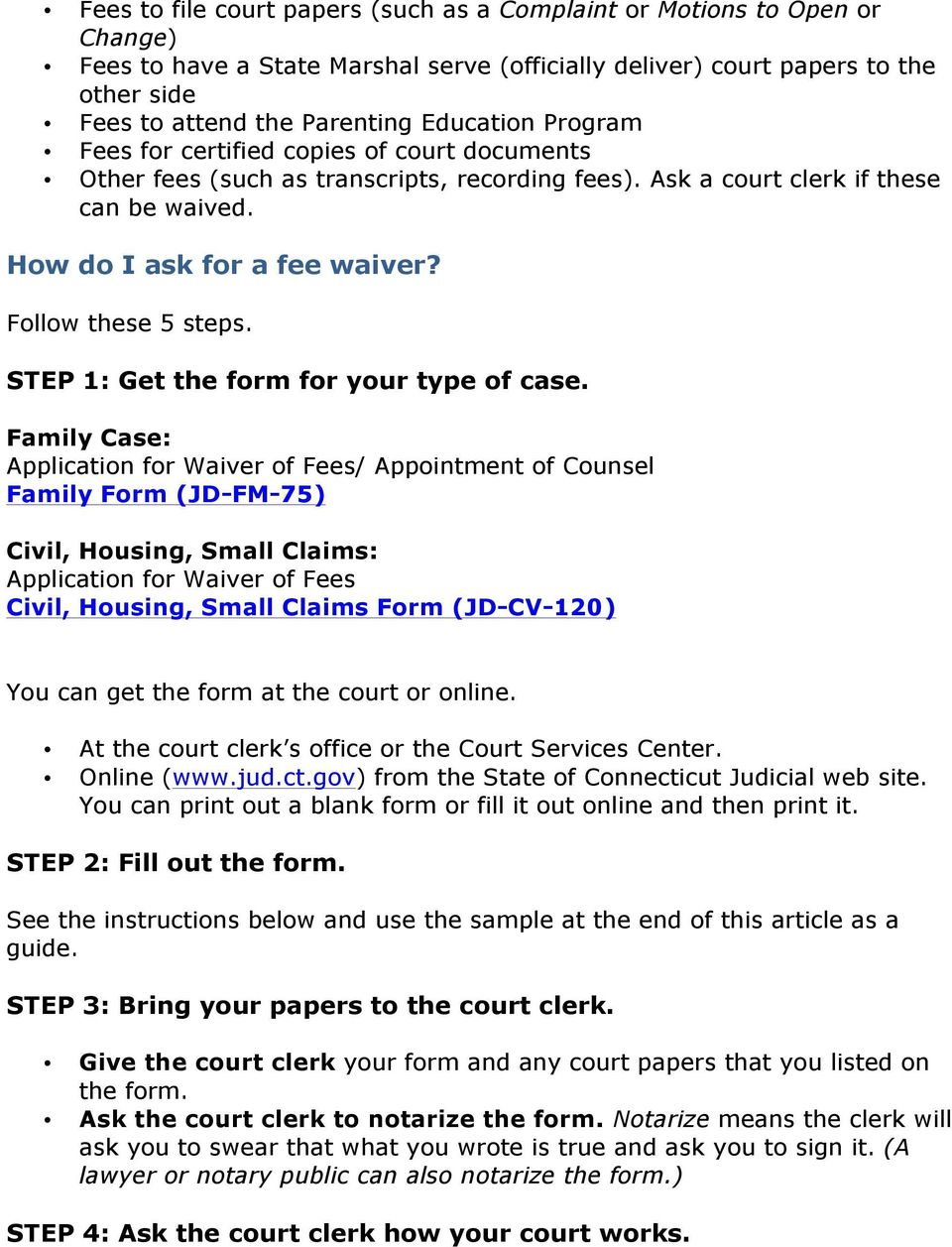 Court Costs and Fees (A Guide to Fee Waivers) - PDF