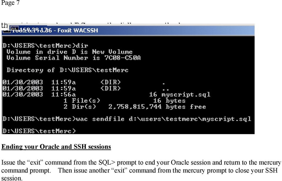 return to the mercury command prompt.