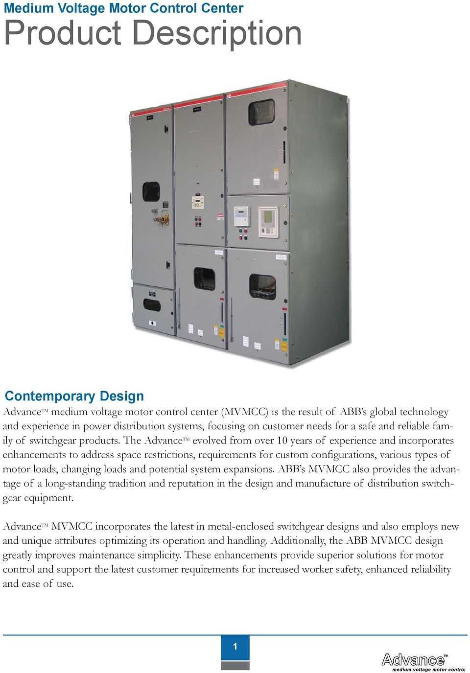Medium Voltage Air Insulated Motor Control Featuring Advancetm Abb Solid State Relay Wiring Diagram The Advance Tm Evolved From Over 10 Years Of Experience And Incorporates Enhancements To Address Space