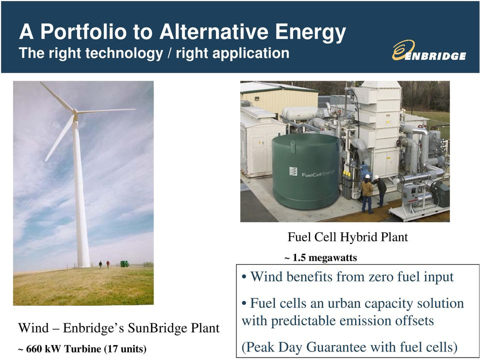 5 megawatts Wind benefits from zero fuel input Wind Enbridge s SunBridge Plant