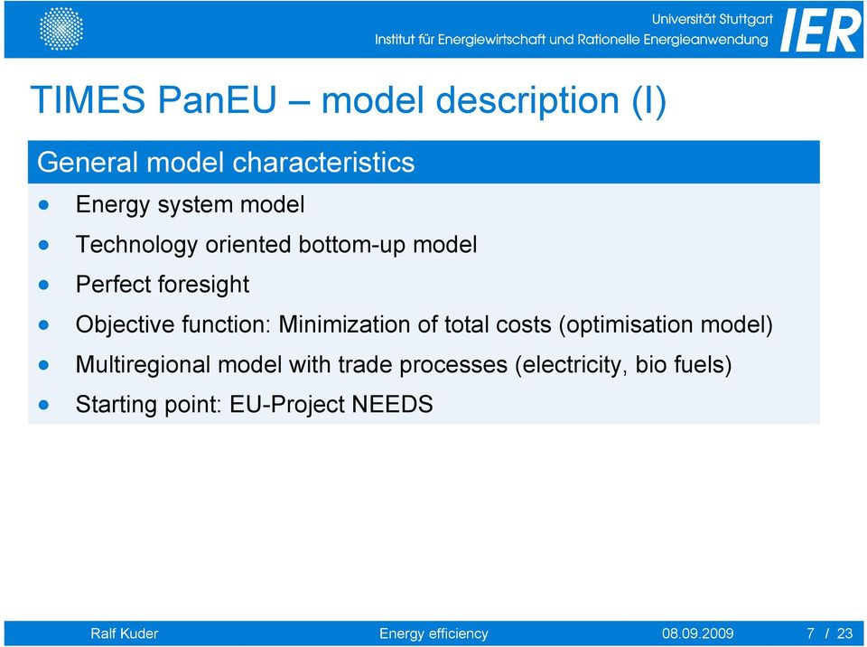 of total costs (optimisation model) Multiregional model with trade processes