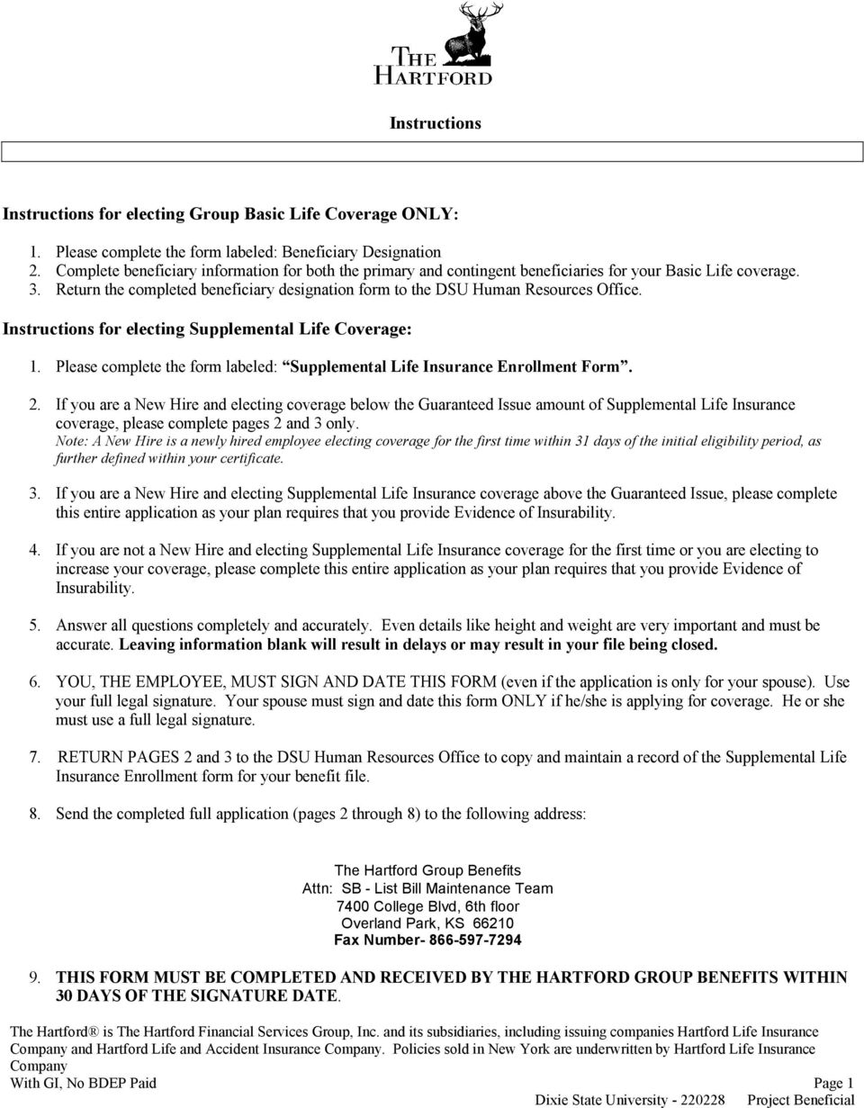 The Hartford Insurance Address >> Instructions 8 Send The Completed Full Application Pages 2