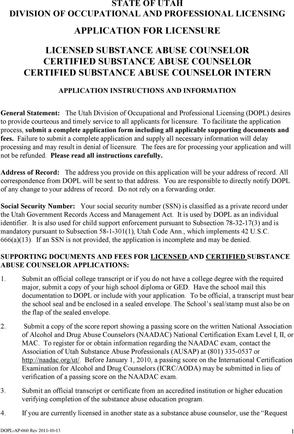 Application For Licensure Licensed Substance Abuse Counselor