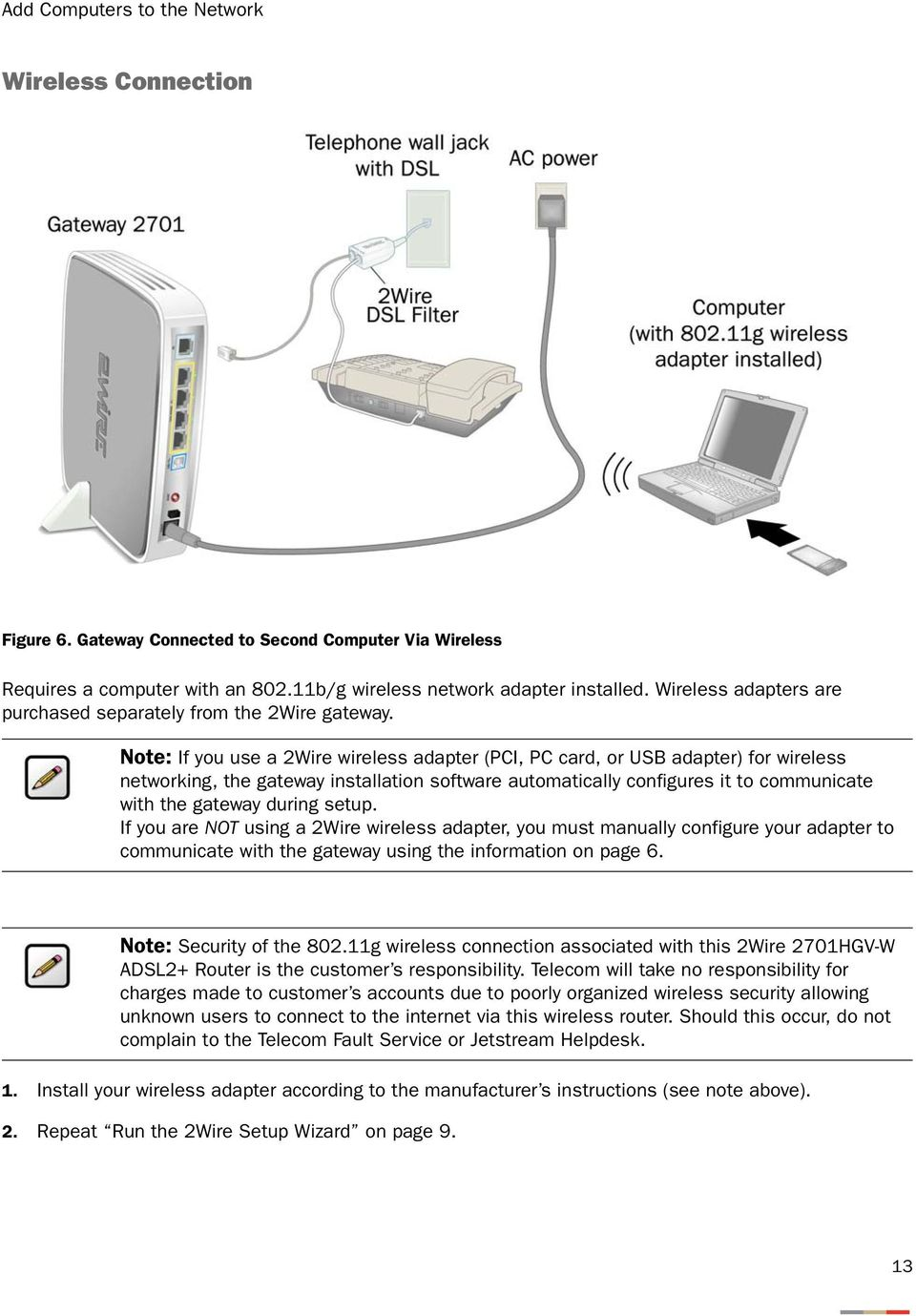 2wire Gateway Installation Guide For 2701hgv W Pdf Dsl Inter Connection Together With Rj45 Connector Wiring Diagram Note If You Use A Wireless Adapter Pci Pc Card Or