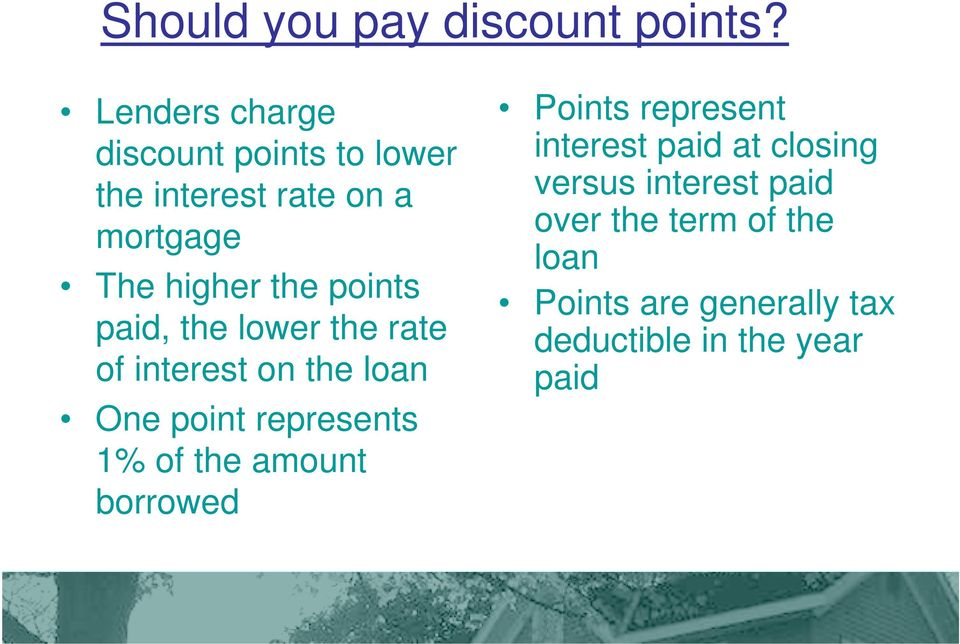 points paid, the lower the rate of interest on the loan One point represents 1% of the