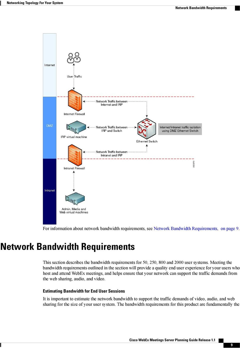 Meeting the bandwidth requirements outlined in the section will provide a quality end user experience for your users who host and attend WebEx meetings, and helps ensure that your network can