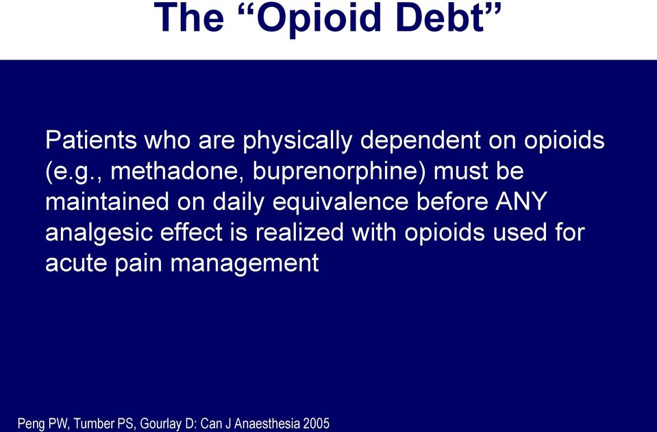 equivalence before ANY analgesic effect is realized with opioids