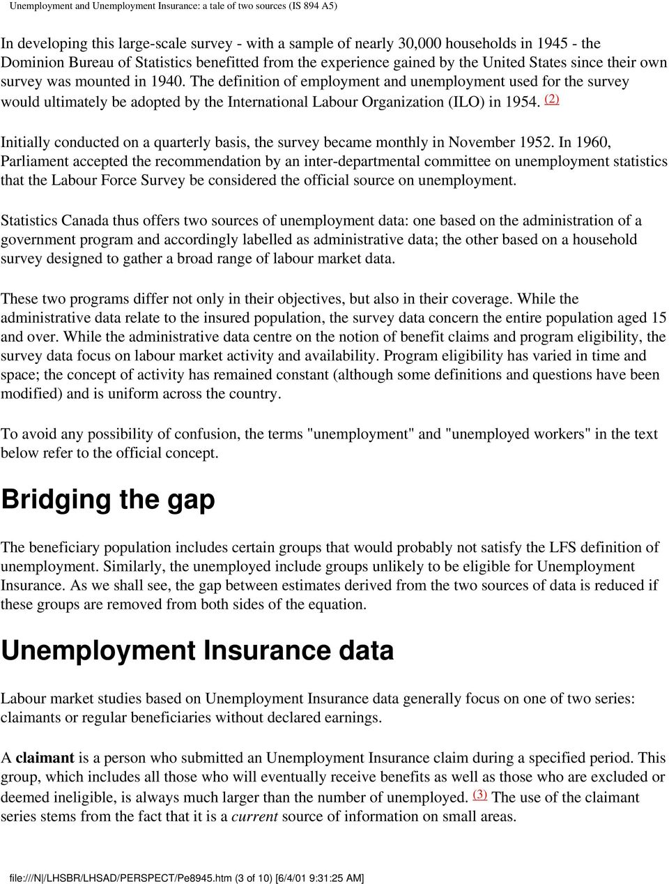 unemployment and unemployment insurance: a tale of two sources - pdf
