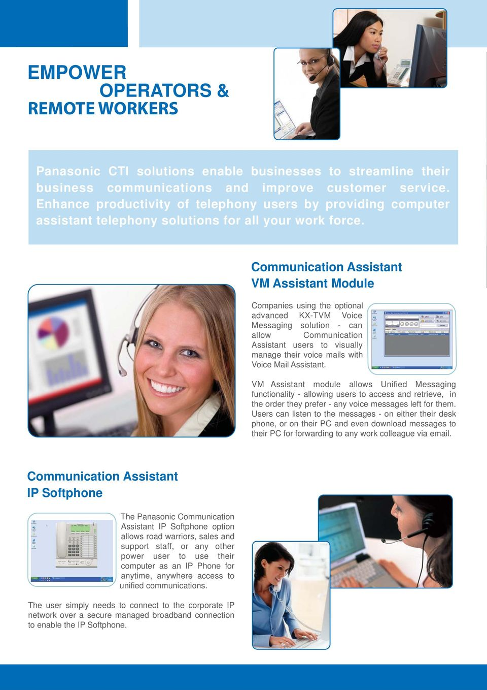 Communication Assistant VM Assistant Module Companies using the optional advanced KX-TVM Voice Messaging solution - can allow Communication Assistant users to visually manage their voice mails with