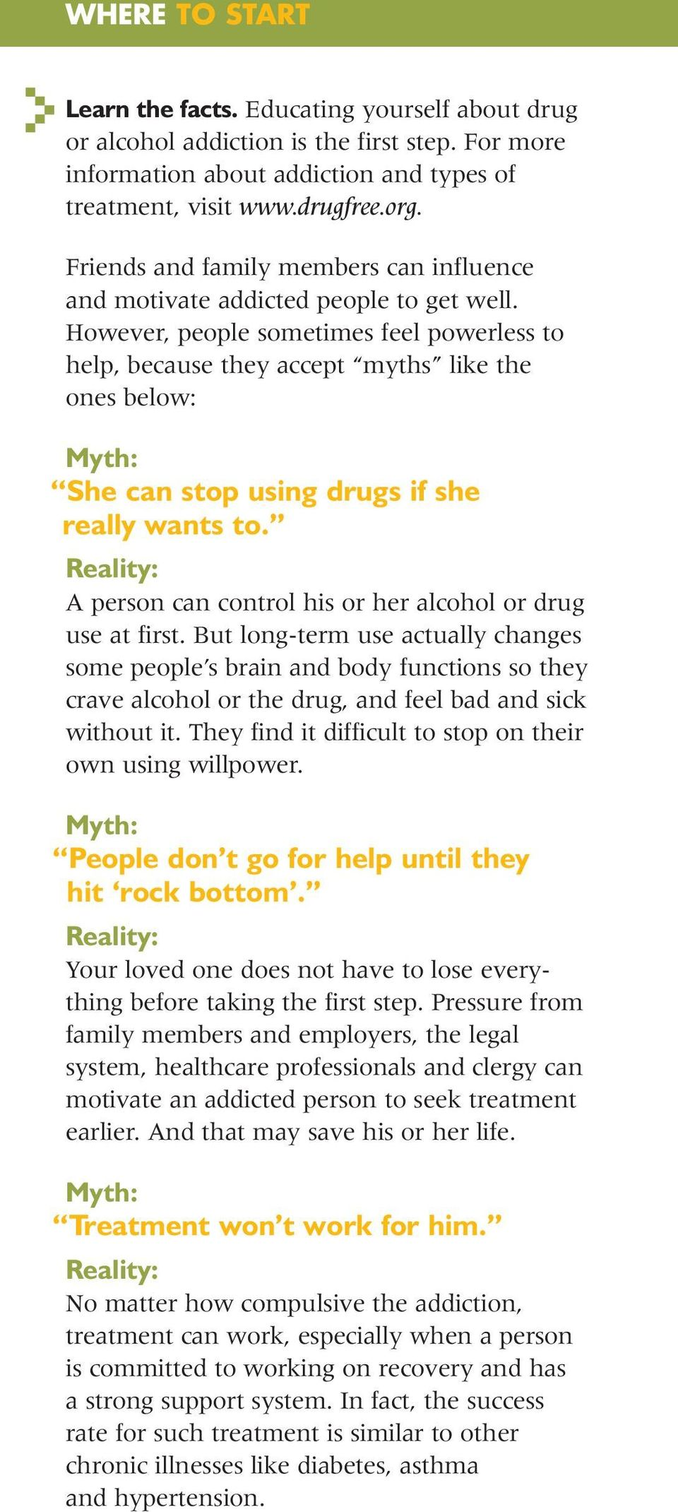 However, people sometimes feel powerless to help, because they accept myths like the ones below: Myth: She can stop using drugs if she really wants to.