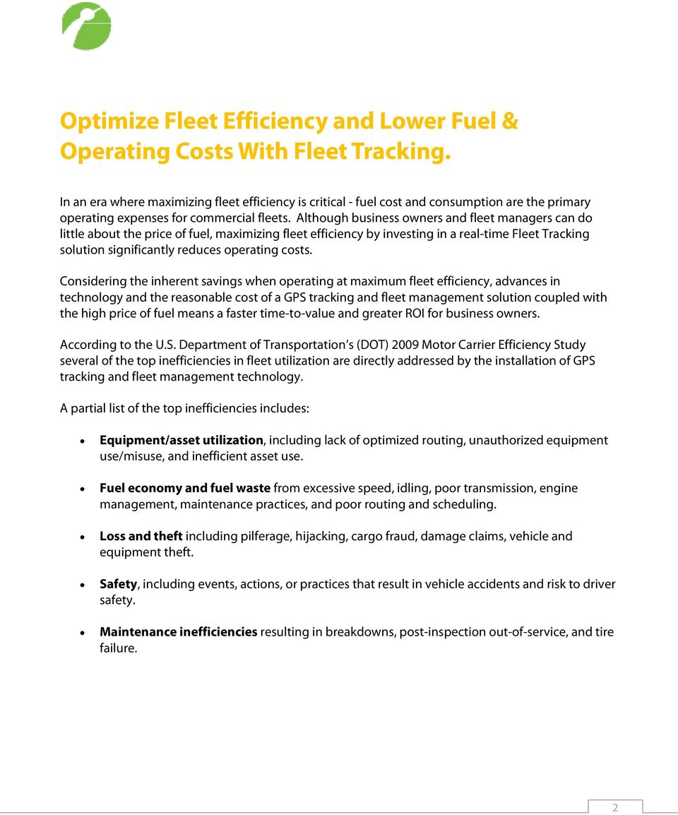 Optimize Fleet Efficiency and Lower Fuel and Operating Costs