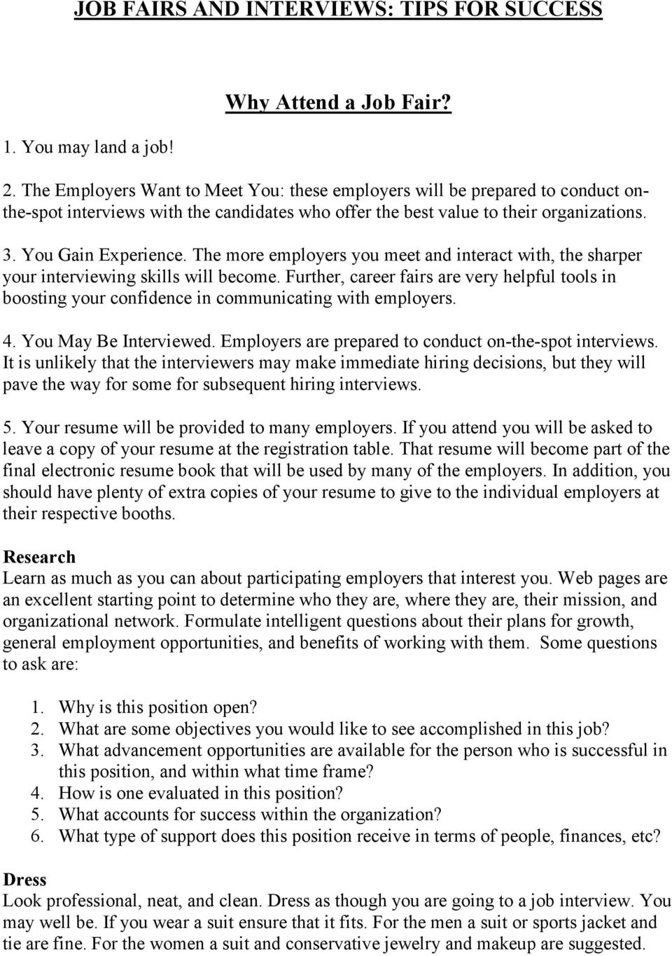 JOB FAIRS AND INTERVIEWS: TIPS FOR SUCCESS  Why Attend a Job Fair? - PDF