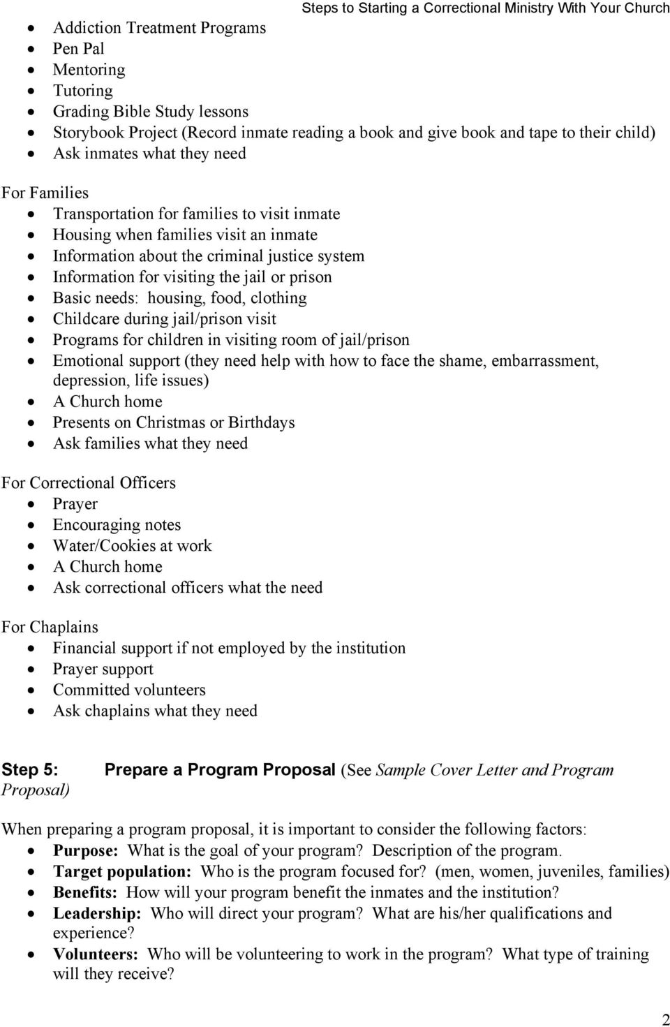 Steps To Starting A Correctional Ministry With Your Church Pdf