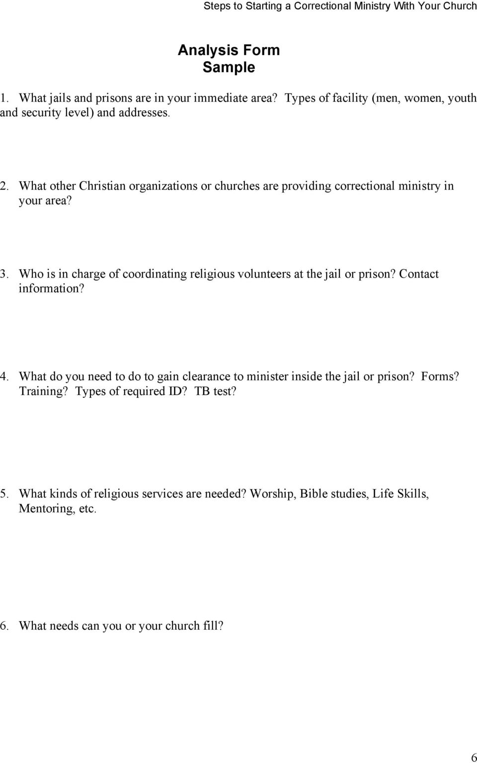 Steps to Starting a Correctional Ministry with Your Church - PDF