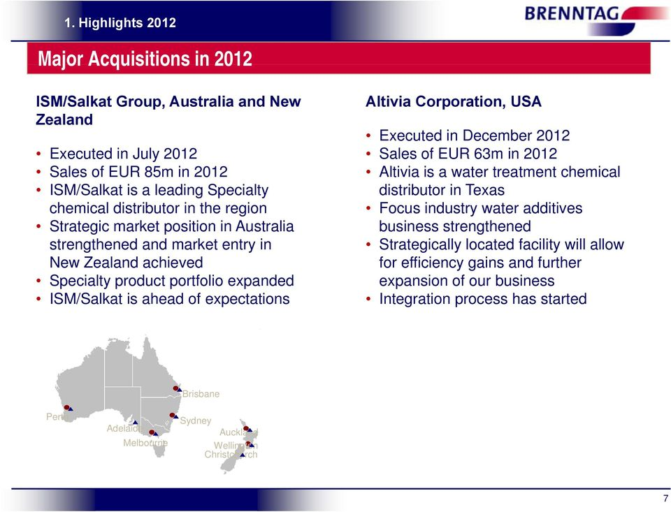 Corporation, USA Executed in December 2012 Sales of EUR 63m in 2012 Altivia is a water treatment chemical distributor in Texas Focus industry water additives business strengthened