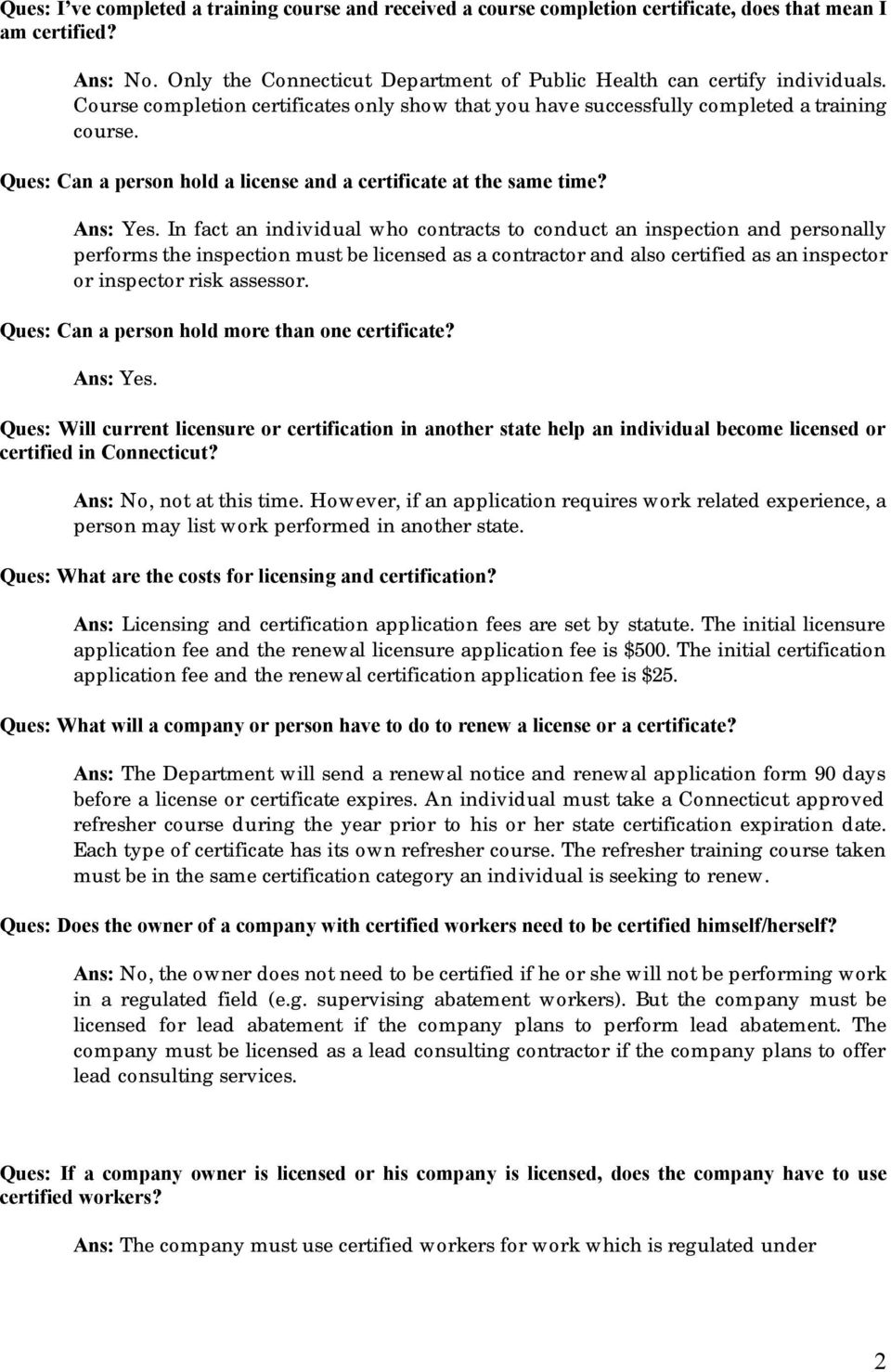 Lead Licensing And Certification Q A S Pdf