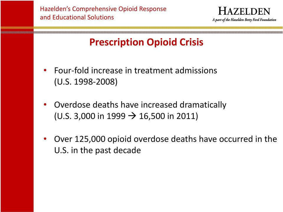 1998 2008) Overdose deaths have increased dramatically (U.S.
