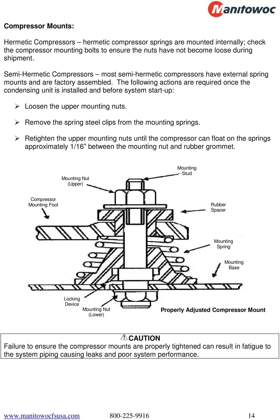 Refrigeration System Installation Operation Manual Pdf Hermetic Compressor Wiring Diagram The Following Actions Are Required Once Condensing Unit Is Installed And Before Start