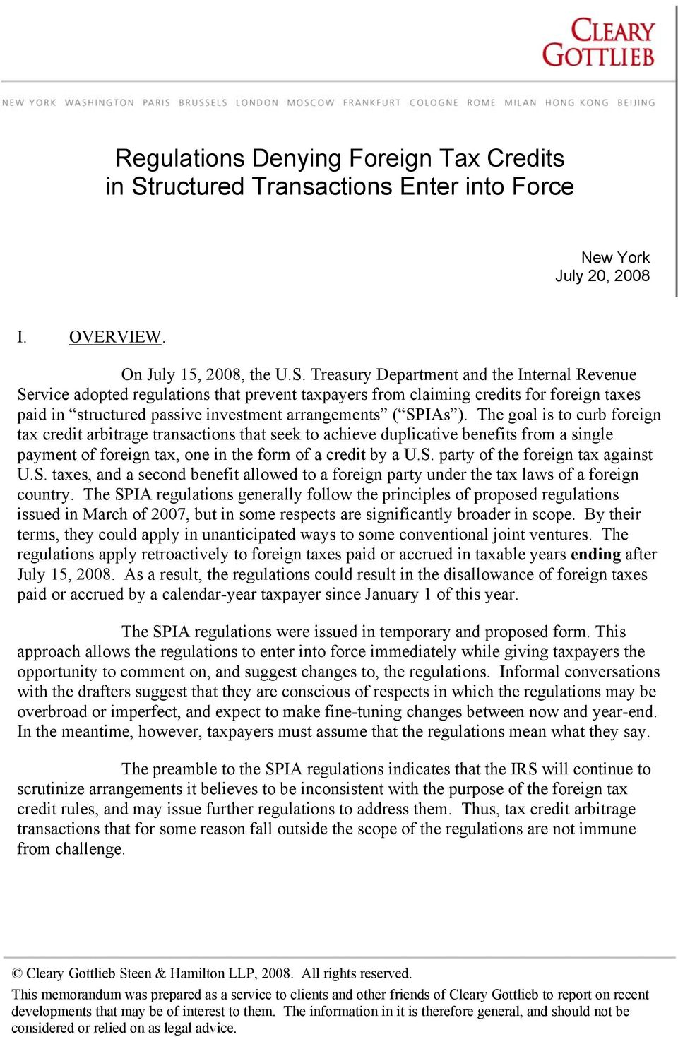 Regulations Denying Foreign Tax Credits in Structured Transactions ...