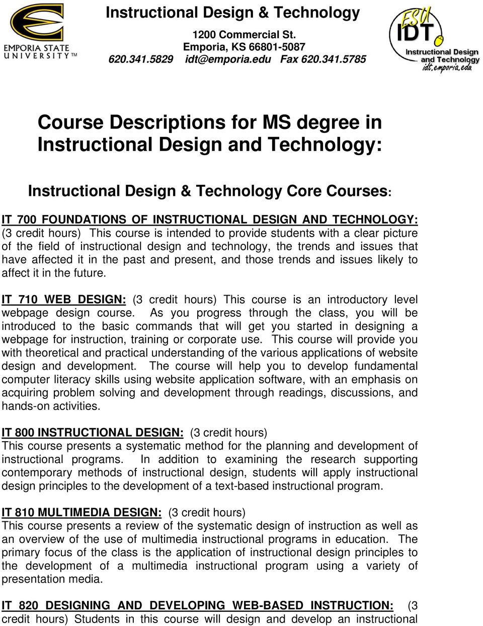 Course Descriptions For Ms Degree In Instructional Design And Technology Pdf Free Download