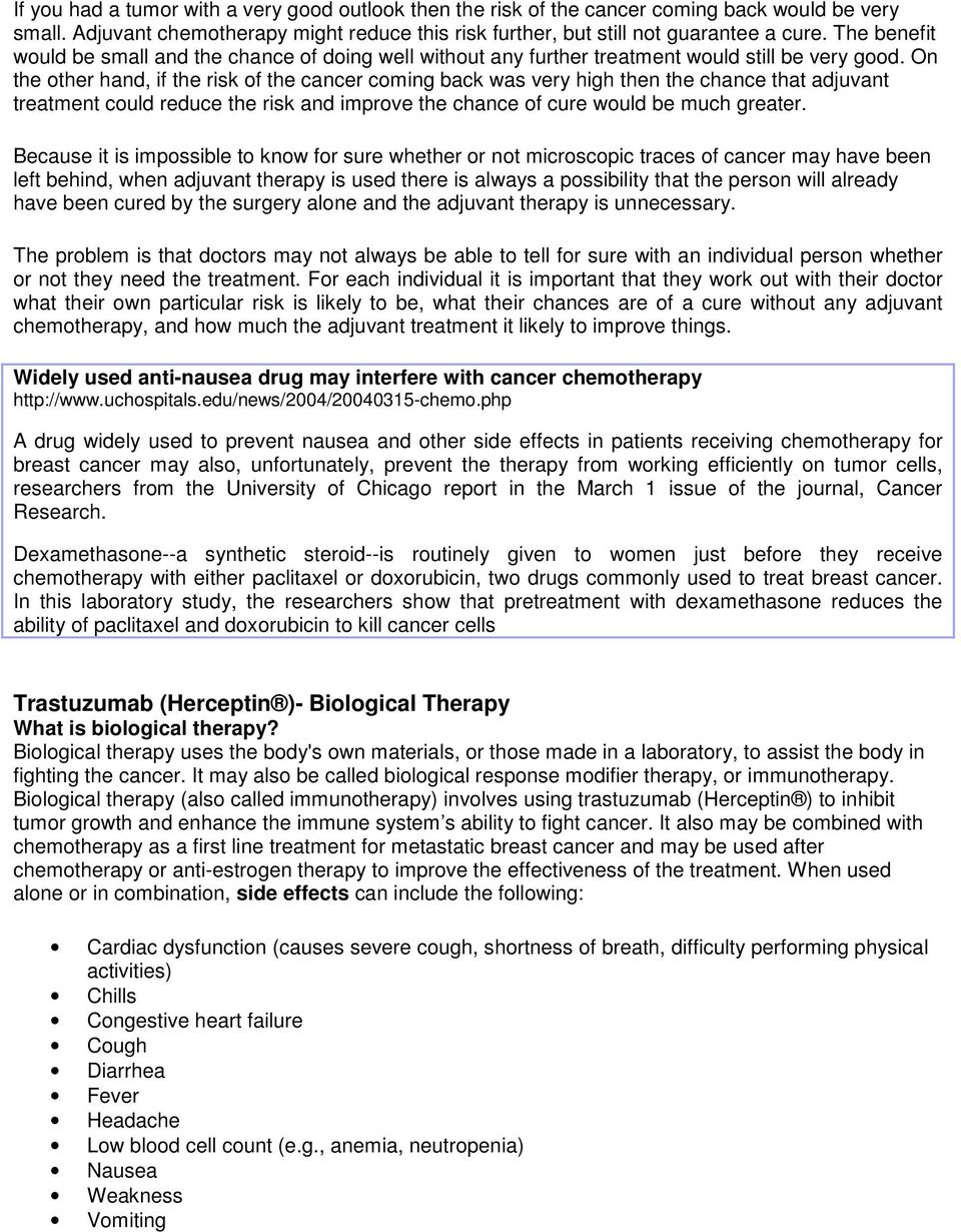 chemotherapy improving treatment techniques essay It is known that fatigue is the commonest side-effect of chemotherapy and radiotherapy: it has been shown that 65–100% of patients undergoing radiotherapy [9–11] and up to 82–96% of those receiving chemotherapy [12, 13] suffer from fatigue during their treatment.