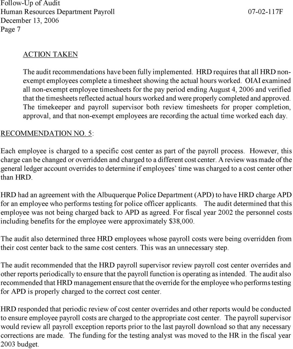 FOLLOW-UP OF HUMAN RESOURCES DEPARTMENT PAYROLL REPORT NO F  City of