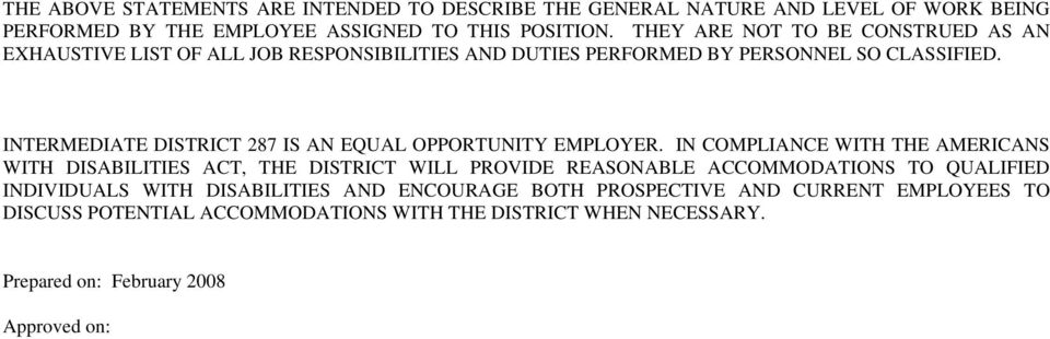 INTERMEDIATE DISTRICT 287 IS AN EQUAL OPPORTUNITY EMPLOYER.