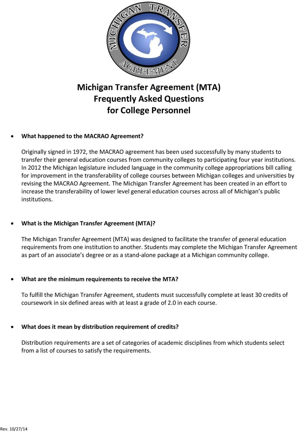 Michigan Transfer Agreement Mta Frequently Asked Questions For