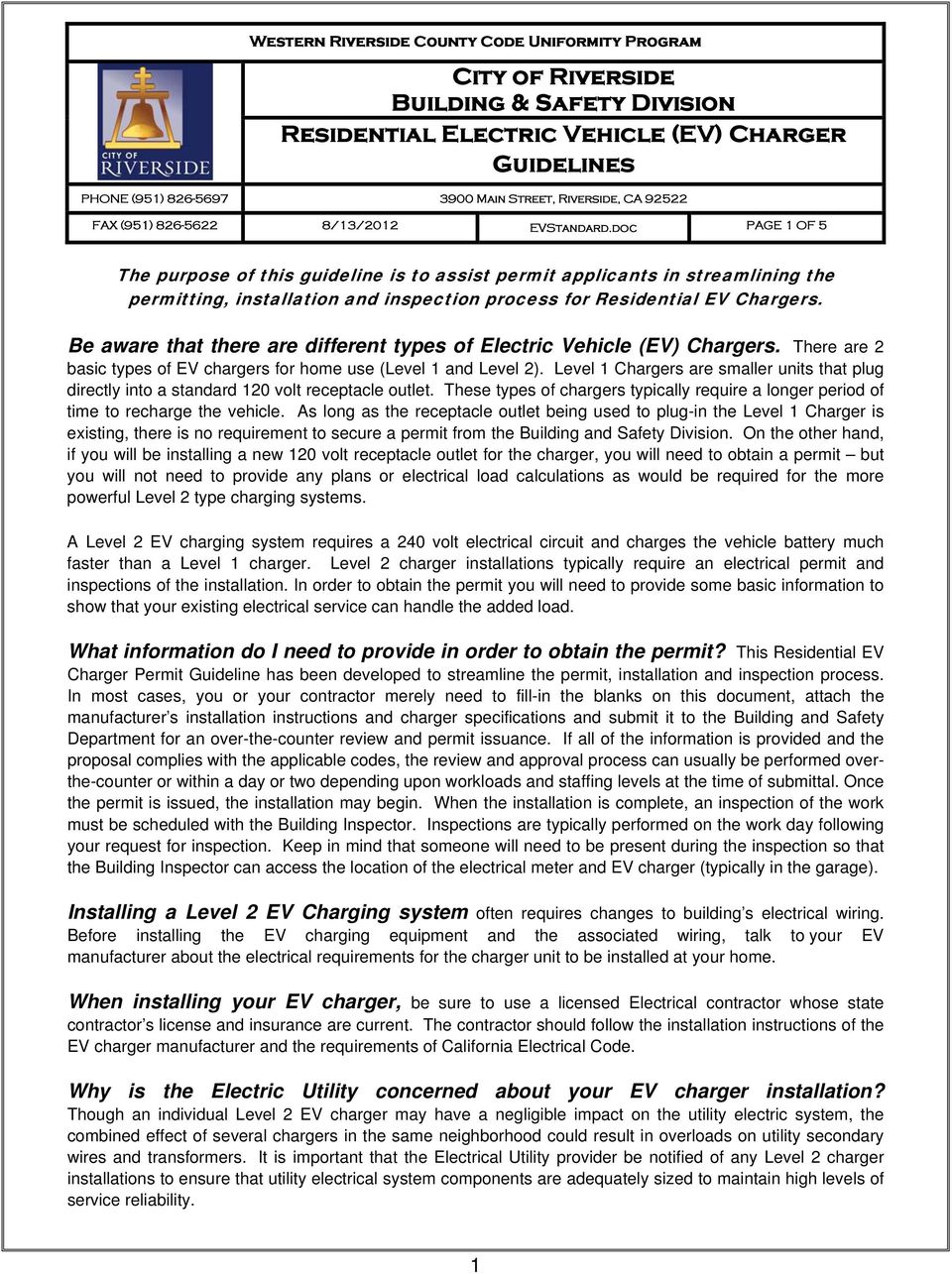 City Of Riverside Building Safety Division Residential Electric Electrical Wiring Types Doc Page 1 5 The Purpose This Guideline Is To Assist Permit Applicants In