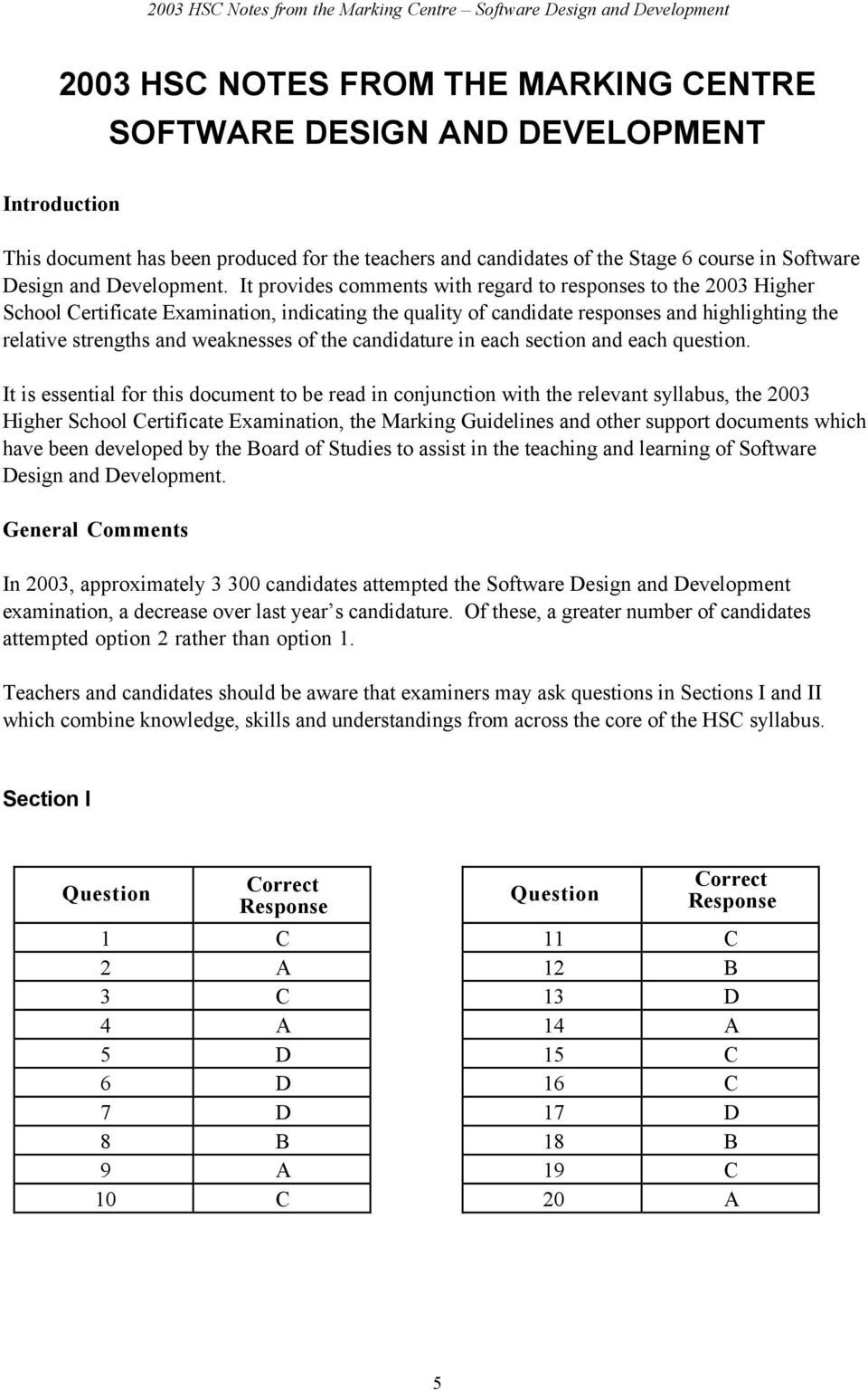 2003 Hsc Notes From The Marking Centre Software Design And Development Pdf Free Download