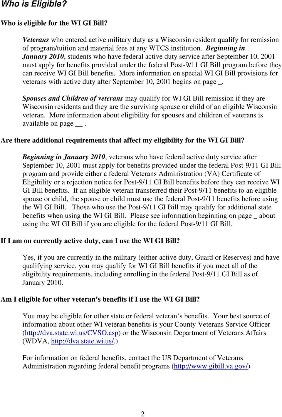 WI GI BILL BENEFITS: FREQUENTLY ASKED QUESTIONS - PDF