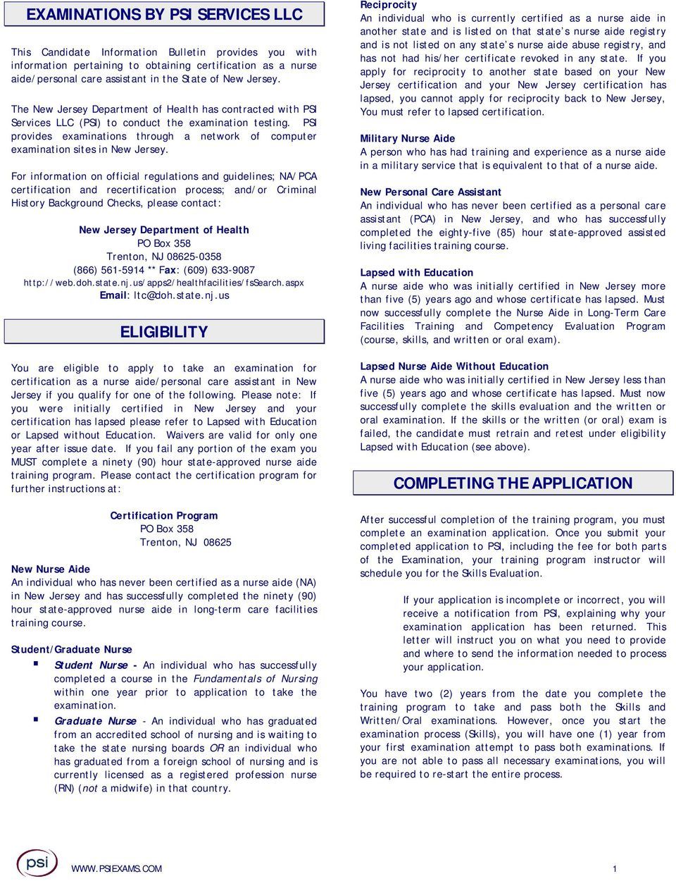 Nurse Aide Personal Care Assistant Examination Candidate