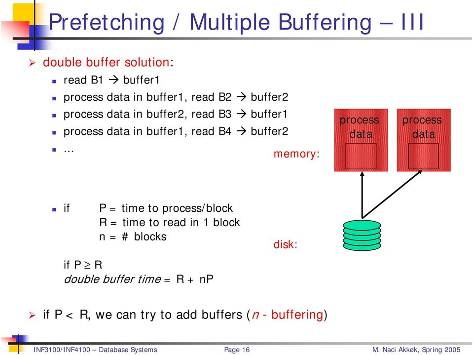.. memory: process data process data if P = time to process/block R = time to read in 1 block n = # blocks