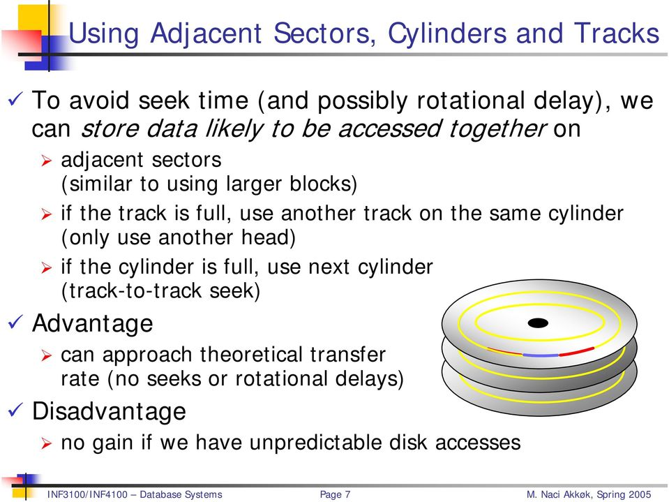use another track on the same cylinder (only use another head) if the cylinder is full, use next cylinder (track-to-track seek)