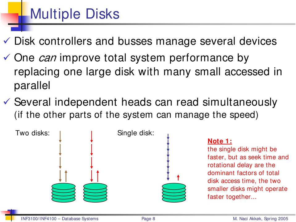 simultaneously (if the other parts of the system can manage the speed) Two disks: Single disk: Note 1: the single disk might be