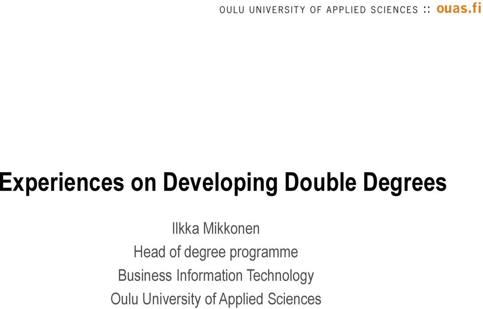 degree programme Business