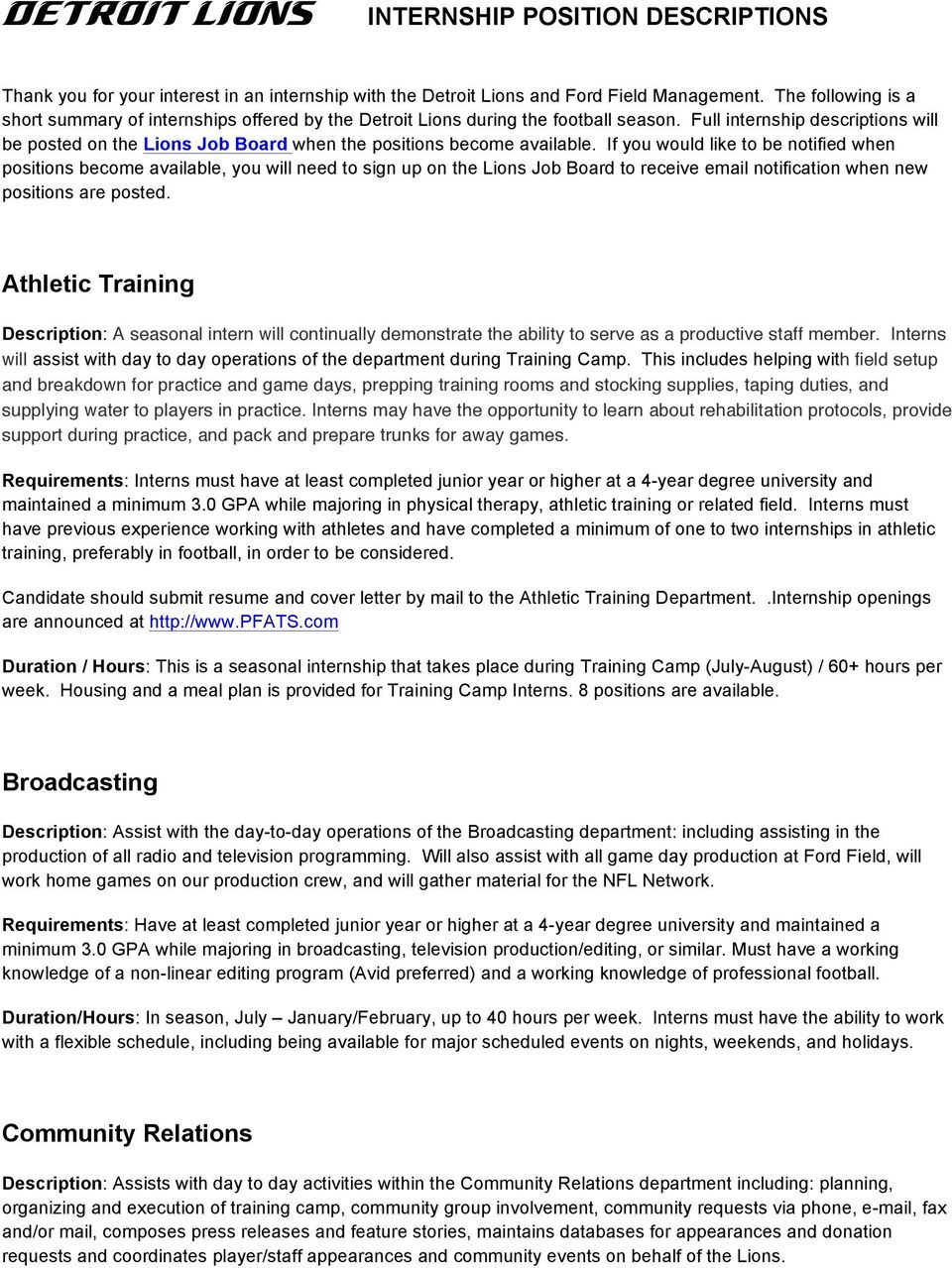 DETROIT LIONS INTERNSHIP POSITION DESCRIPTIONS. Athletic ...