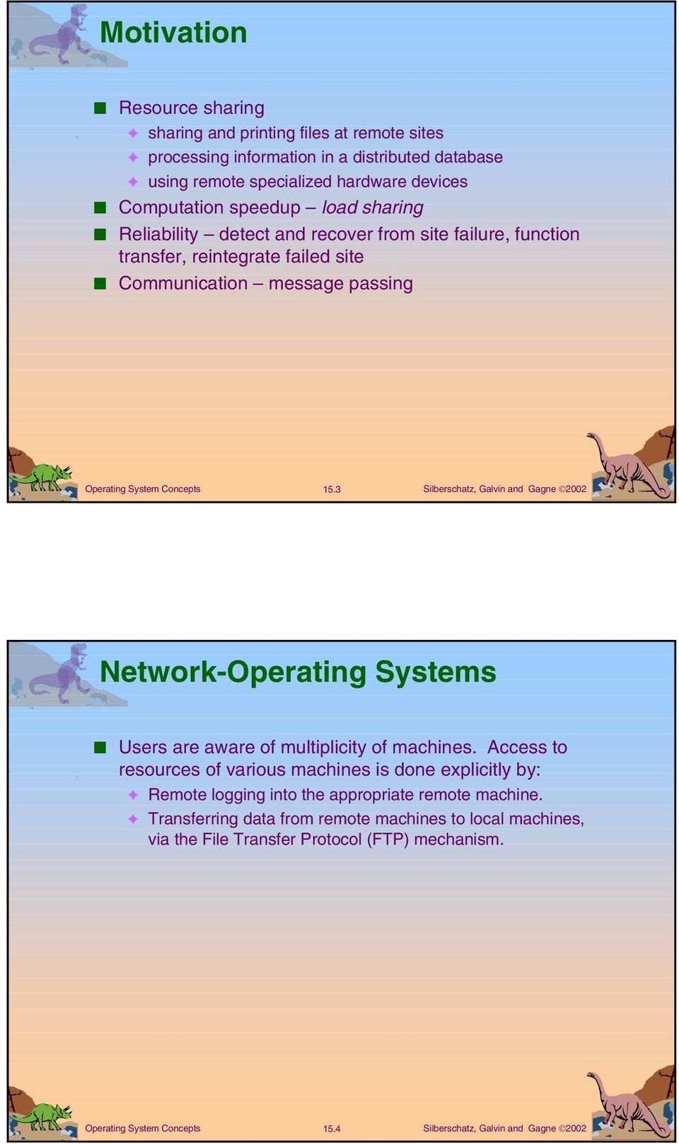 message passing 15.3 Network-Operating Systems Users are aware of multiplicity of machines.