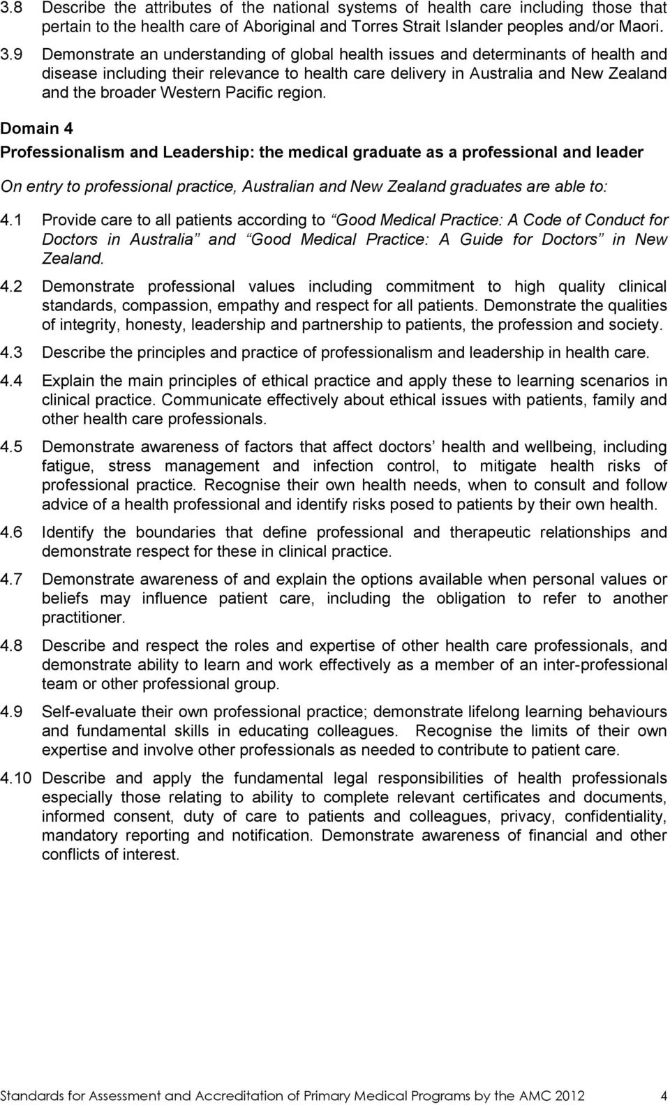 Pacific region. Domain 4 Professionalism and Leadership: the medical graduate as a professional and leader On entry to professional practice, Australian and New Zealand graduates are able to: 4.
