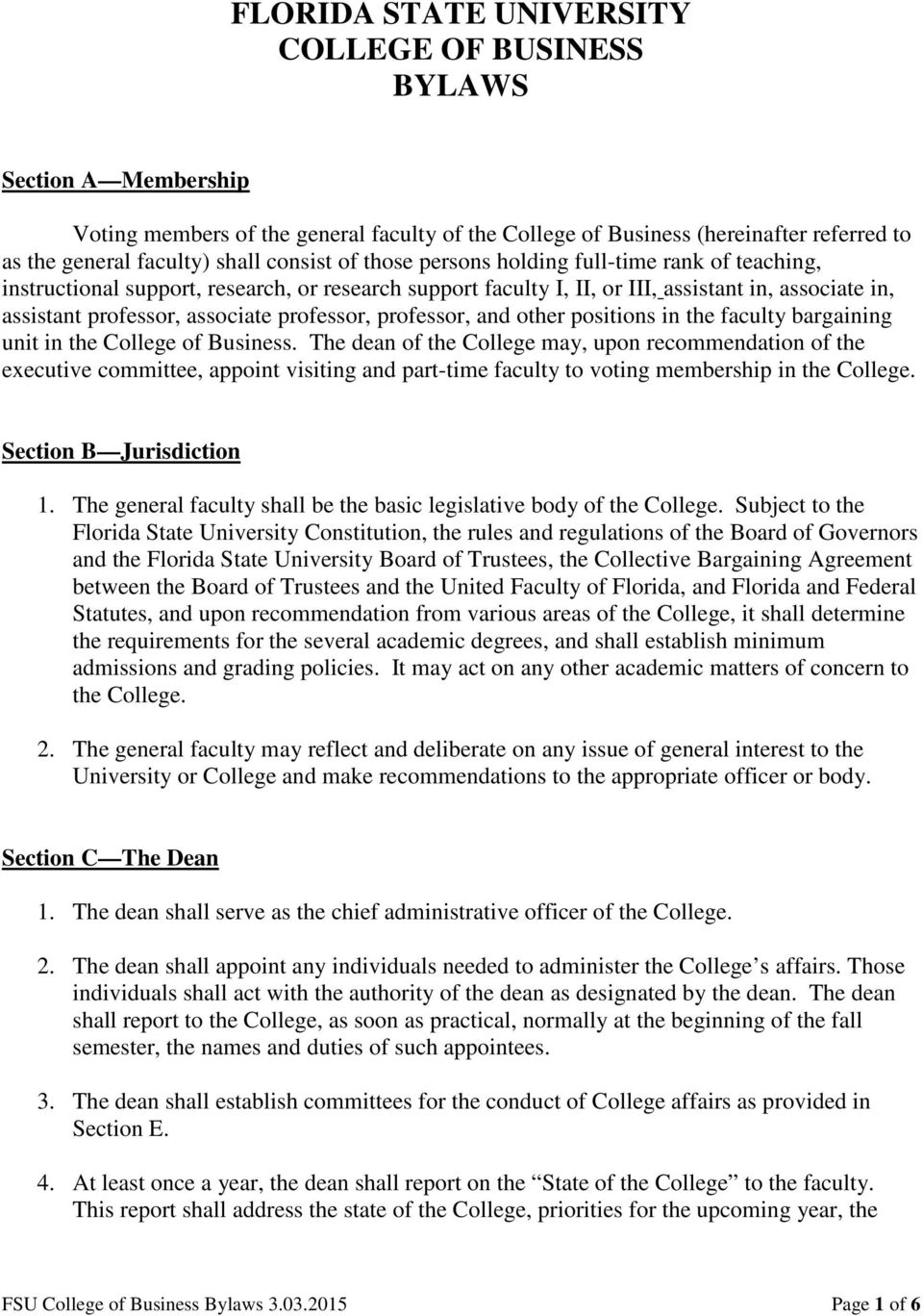 professor, professor, and other positions in the faculty bargaining unit in the College of Business.
