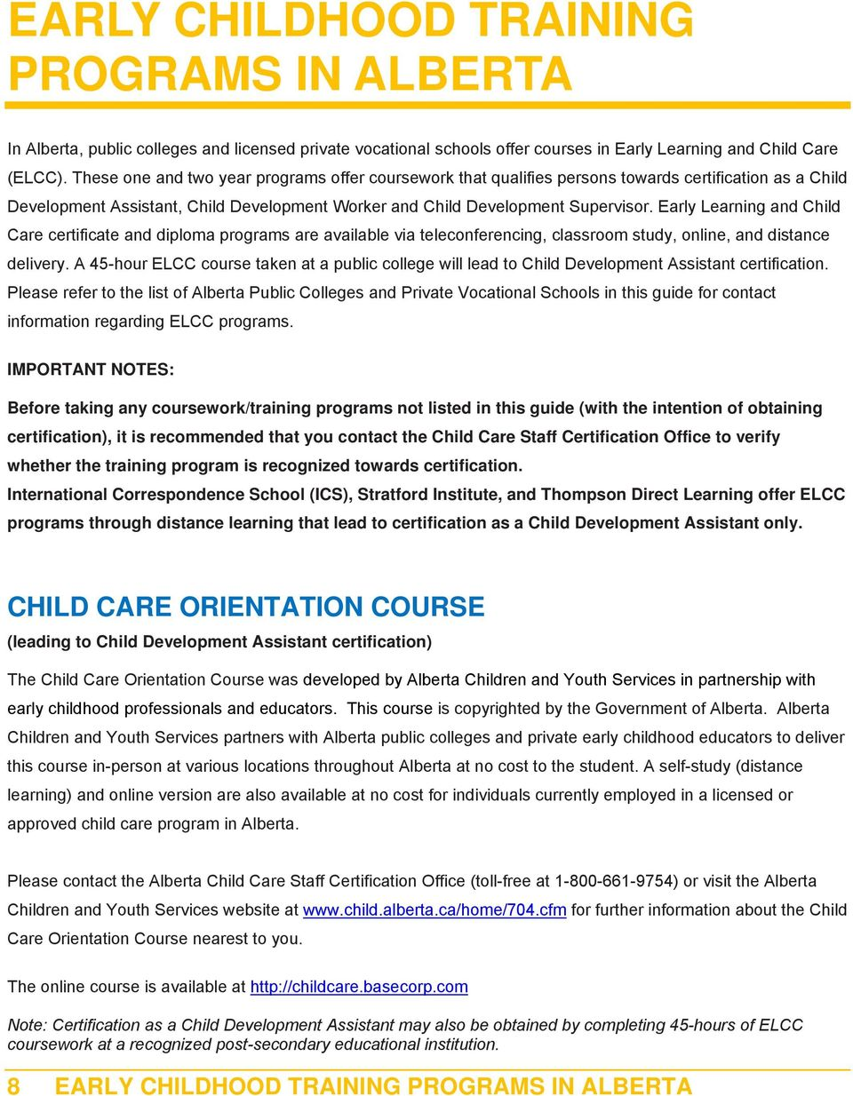 Certification Guide For Child Care Staff Pdf