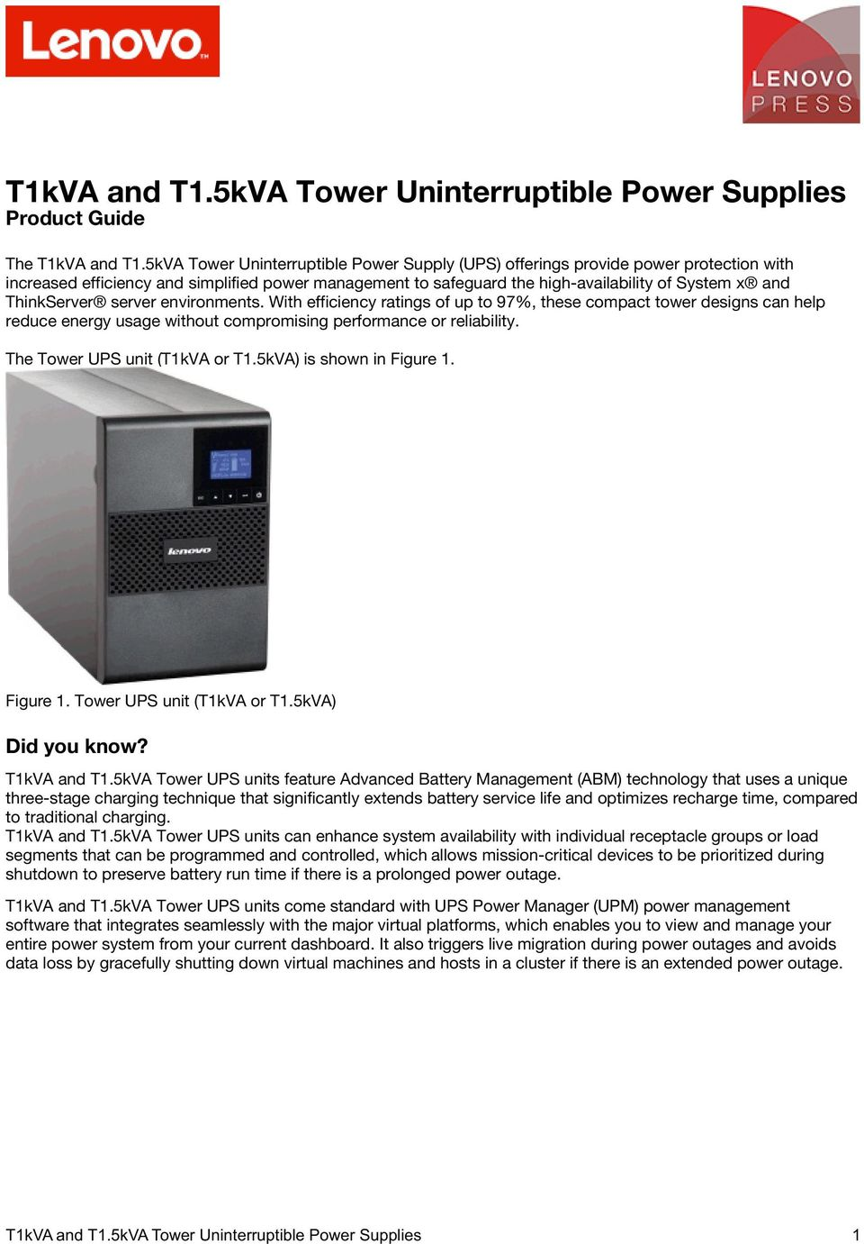 T1kVA and T1 5kVA Tower Uninterruptible Power Supplies Product Guide