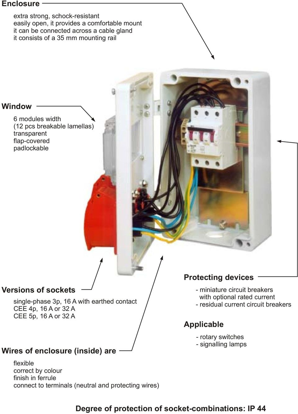 Assembled Socket Combinations Pdf Faz Miniature Circuit Breakers 16 A Or 32 Wires Of Enclosure Inside Are Flexible Correct By Colour